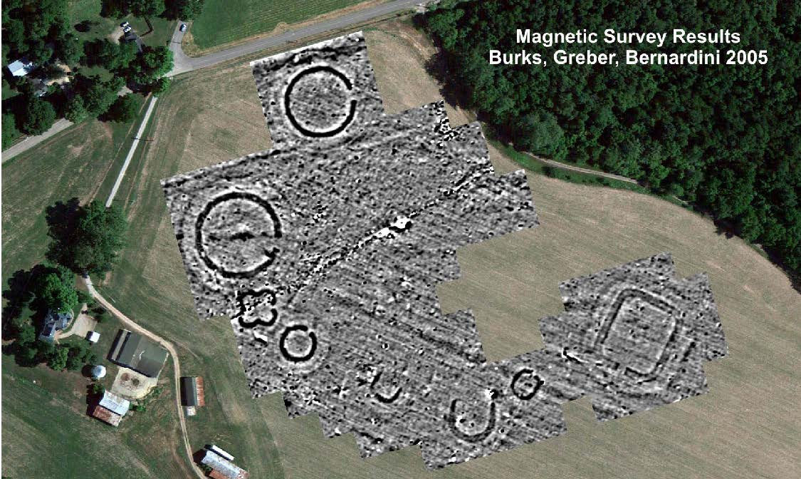 With modern technology, nearly invisible earthworks come back to life. This magnetic survey shows the perfectly preserved foundations of Junc-tion Works as revealed by recent research in which Archaeologist Jarrod Burks participated. Photo courtesy of Jarrod Burks.