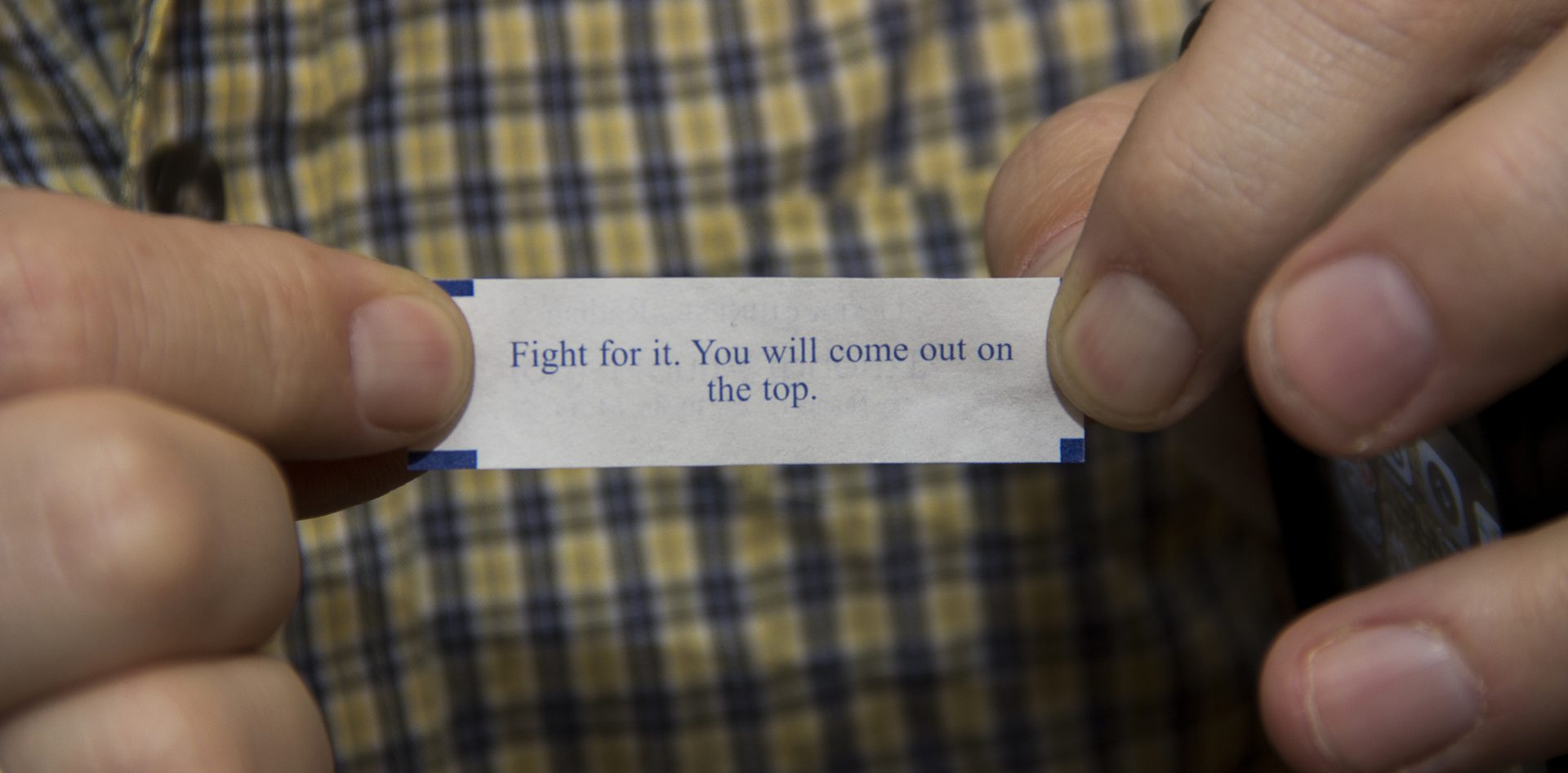 Jarrod Burks' fortune cookie on auction night.