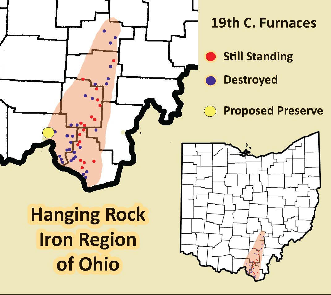 The Ohio Hanging Rock region of Ohio was the nation's leading producer of iron up until the Civil War.