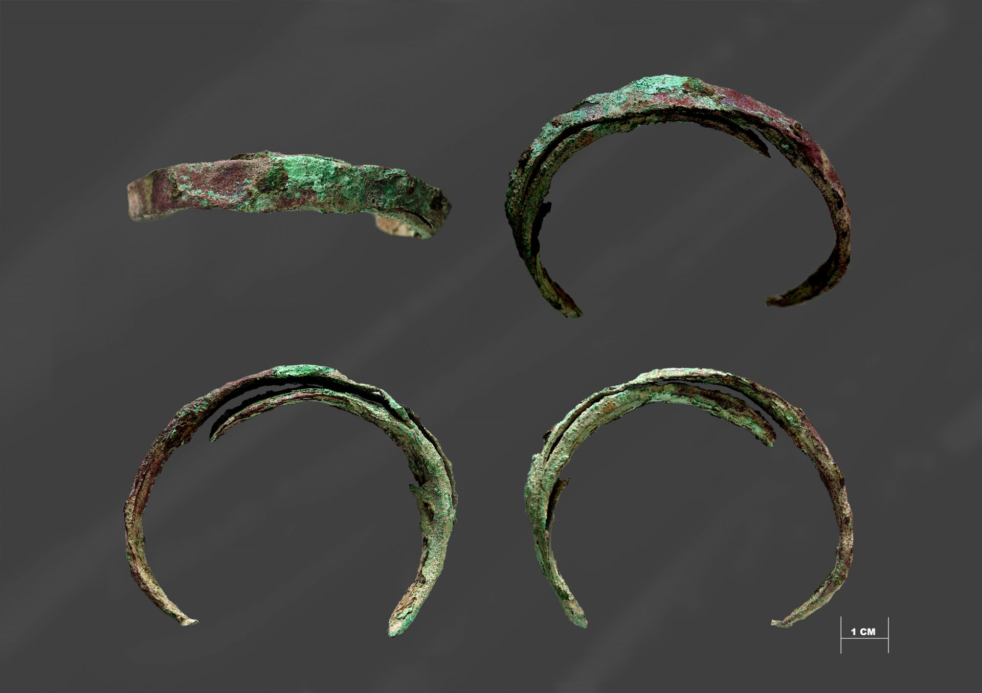 Copper bracelet excavated in the stone mound. Photo by Richard Moats.
