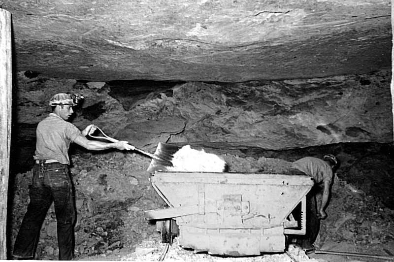 The last quarter of the 19th Century, into the early 1900s was the peak of clay-derived maufacturing in the Hanging Rock Region. This photo illustrates what work was like underground in a clay mine.