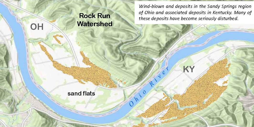 Wind-blown and deposits in the Sandy Springs region of Ohio and associated deposits in Kentucky. Many of Rock Run these deposits have become seriously disturbed.