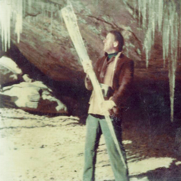 Marje's late husband, George, at the mouth of the rock shelter.