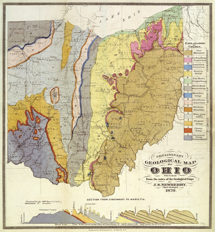 Geological map of Ohio showing the area of Silurian bedrock along the Ohio River Corridor.
